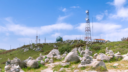 Transmission towers at the highest point Monchique mountains in the Algarve in Portugal