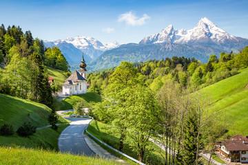 Maria Gern Chapel near Berchtesgaden with Watzmann mountain in summer, Bavaria, Germany Wall mural