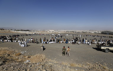 Tribesmen loyal to the Houthi movement attend a gathering to show their support for the group, in Yemen's capital Sanaa