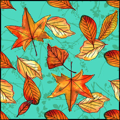 Autumn leaves on teal background, seamless vector watercolor