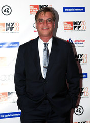 """Writer Aaron Sorkin arrives at the premiere of """"The Social Network"""" in New York"""
