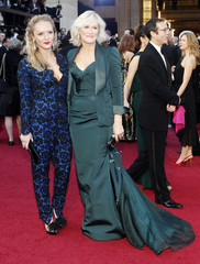 """Glenn Close, best actress nominee for her role in """"Albert Nobbs"""", arrives with her daughter at the 84th Academy Awards in Hollywood"""