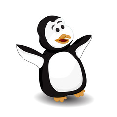 funny penguin surprise face vector isolated