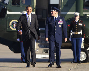 U.S. President Barack Obama walks to Air Force One at Andrews Air Force base