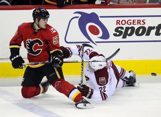 Calgary Flames' Bouma and Phoenix Coyotes' Stempniak scramble for the puck during their NHL hockey game in Calgary.