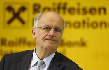 Sevelda, Chief Executive of Austrian lender Raiffeisen Bank International, addresses a news conference in Vienna