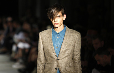 A model presents a creation of the Rag & Bone men's Spring 2011 collection during New York Fashion Week