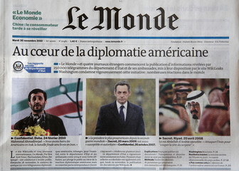 The front page of French daily Le Monde is pictured in Paris