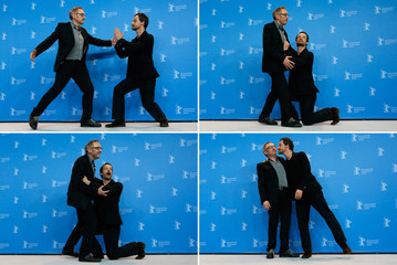 A combination of four pictures show director Josef Hader and actor Jorg Hartmann pose during a photocall to promote the movie 'Wild Mouse' at the 67th Berlinale International Film Festival in Berlin