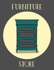 Poster. Furniture store. Blue wooden chest of drawers with gray carved details eps 10 illustration