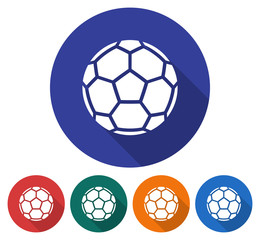 Round icon of  soccer ball (European football). Flat style illustration with long shadow in five variants background color