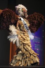 Contestant Ebeledike displays her costume at the opening of the 24th edition of Most Most Beautiful Girl in Nigeria (MGBN) beauty pageant in Lagos