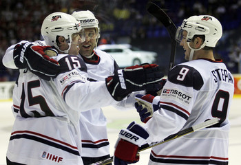 U.S. players celebrate fifth goal against Austria at the Ice Hockey World Championships in Kosice