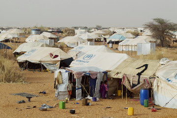 Tents set up by the United Nations High Commissioner for Refugees are seen in a refugee camp for Malians in Mbera