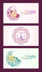 Collection of vector colored banners for Ramadan Kareem with sketch of Ramadan lantern, towers of mosque, vintage moon and arabic pattern