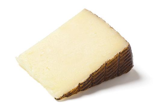 Manchego Sheep's Milk Cheese on White Background