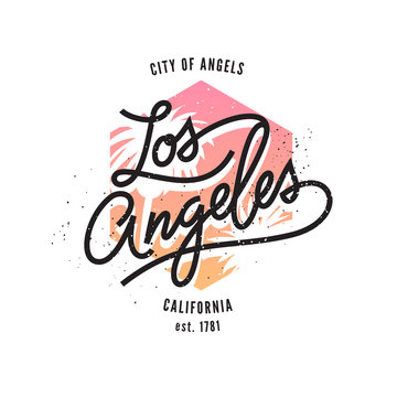 Los Angeles, aged vintage style vector typographic print
