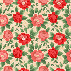 Seamless rose pattern over textured background.