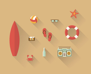 Vector illustration icon set of beach: surf, photo camera, ball, flip flops, sunglasses, starfish, lifebuoy, crab, water bottle, music recorder