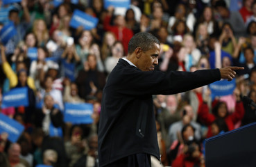 U.S. President Obama gestures during in a campaign rally at Springfield High School in Ohio