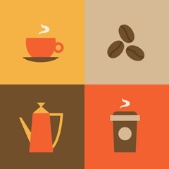 Vector illustration icon set of coffee: mug, coffee beans, kettle, coffee to go