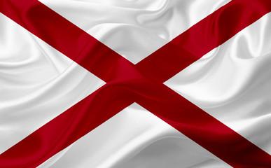 Flag of Alabama, USA, with waving fabric texture