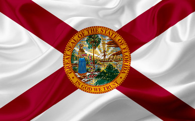Flag of Florida, USA, with waving fabric texture