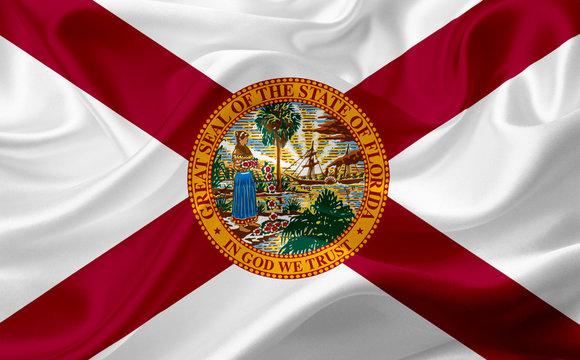 Flag of Florida, USA, with waving fabric texture