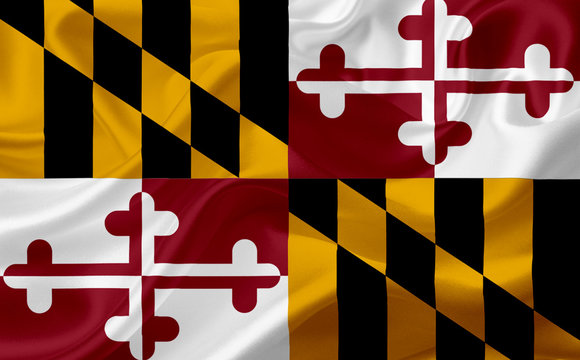 Flag of Maryland, USA with waving fabric texture