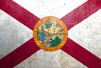 Flag of Florida, USA, with an old, vintage metal texture