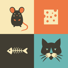 Vector illustration icon set of cat, mouse, cheese and fish