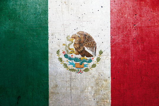 Flag of Mexico, with an old, vintage metal texture