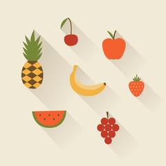 Vector illustration icon set of fruit: pineapple, cherry, apple, banana, strawberry, watermelon, grape