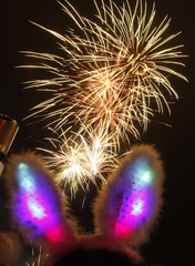 A girl wearing rabbit ears enjoys fireworks during a Chinese New Year celebration in Sydney