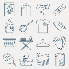 Collection of laundry icons. Set of housework outline icons