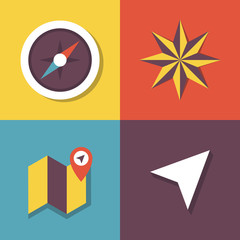 Vector illustration icon set of compass