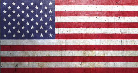Flag of USA, with an old metal texture