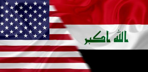 Flag of USA and Iraq, with waving fabric texture