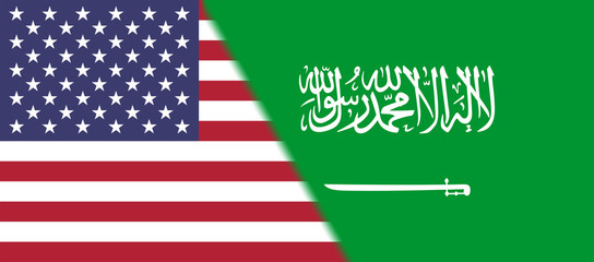 Flag of USA and Saudi Arabia together