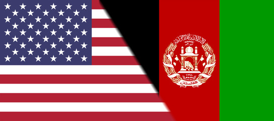 Flag of USA and Afghanistan together
