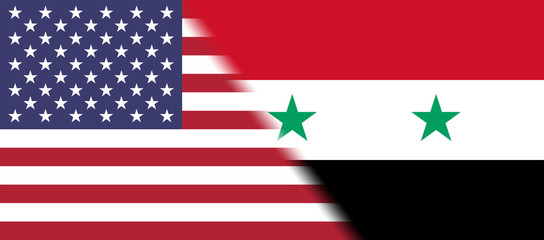 Flag of USA and Syria together