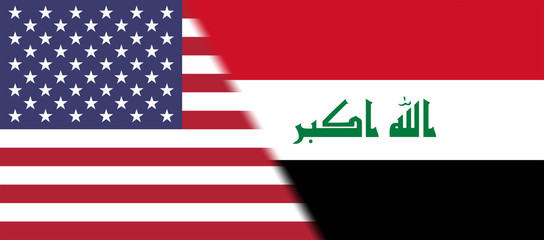 Flag of USA and Iraq together
