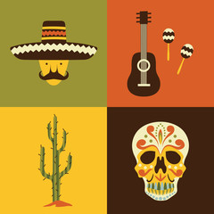 Vector illustration icon set of Mexico: man, guitar, maracas, cactus, skull