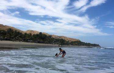A general view of Mancora beach, a tourist destination in Peru's northern region of Piura