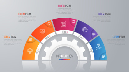 Vector circle chart template for infographics with 5 options.