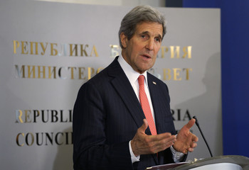 Kerry answers a question at a news conference in Sofia