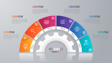 Vector circle chart template for infographics with 6 options.