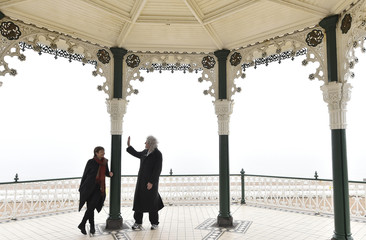 May, guitarist with British rock band Queen and a founder member of the Common Decency political movement, attends photocall with Green Party Member of Parliament Lucas, ahead of the British general election on May 7, in Brighton, southern England