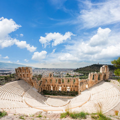 view of Herodes Atticus amphitheater of Acropolis, Athens, Greece