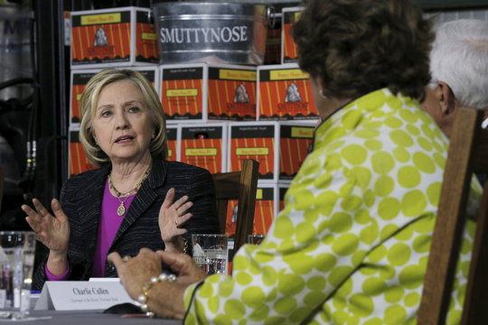 Democratic presidential candidate Hillary Clinton speaks while participating in a discussion with the local small business community at the Smuttynose Brewery in Hampton